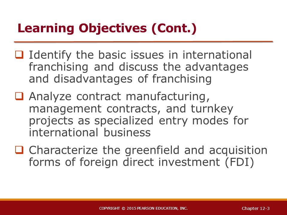 international franchising advantages and disadvantages Advantages and disadvantages of franchising contents 1 definition of franchising 2 businesses for which franchising works best 3 advantages 4  international.