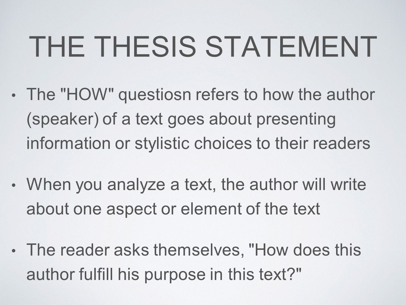 presenting a thesis statement Writing a thesis statement thesis statement tells your reader what it is you will explain and what aspects or parts of the topic presenting your analyses.