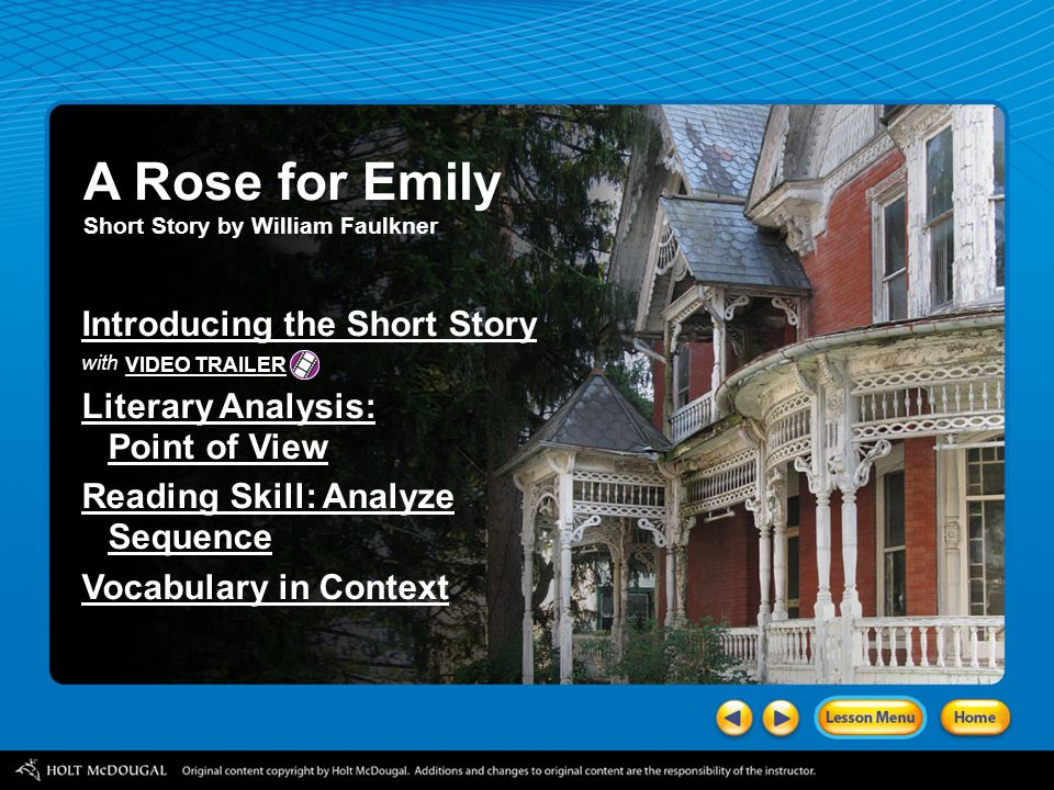Rose For Emily Story Faulkner Reader