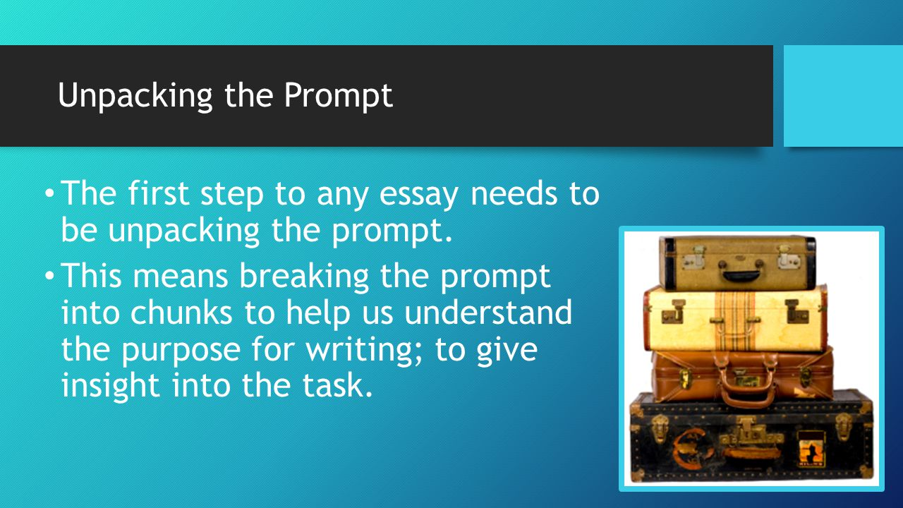 oc writes 2 unpacking the prompt Moving from prompt to thesis--how to turn a prompt into a thesis statement your writing prompt will shape your writing project you must be sure to fully answer the prompt within your essay or discussion and the best way to do this may be to use the prompt itself to create your thesis statement.