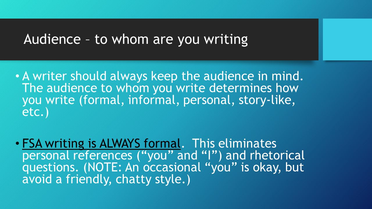 audience in essay writing The purpose for writing a critique is to evaluate somebody's work (a book, an essay, a movie, a painting) in order to increase the reader's understanding of it.