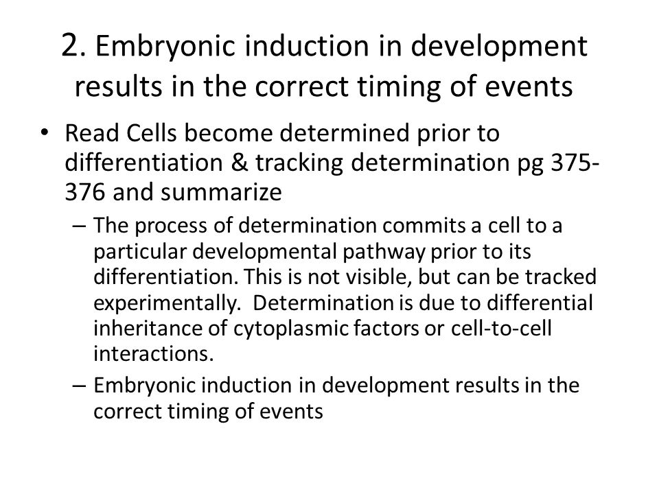 2. Embryonic induction in development results in the correct timing of events