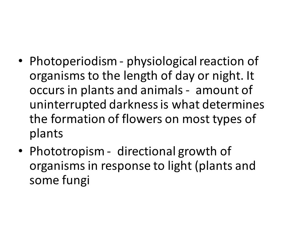 Photoperiodism - physiological reaction of organisms to the length of day or night. It occurs in plants and animals - amount of uninterrupted darkness is what determines the formation of flowers on most types of plants