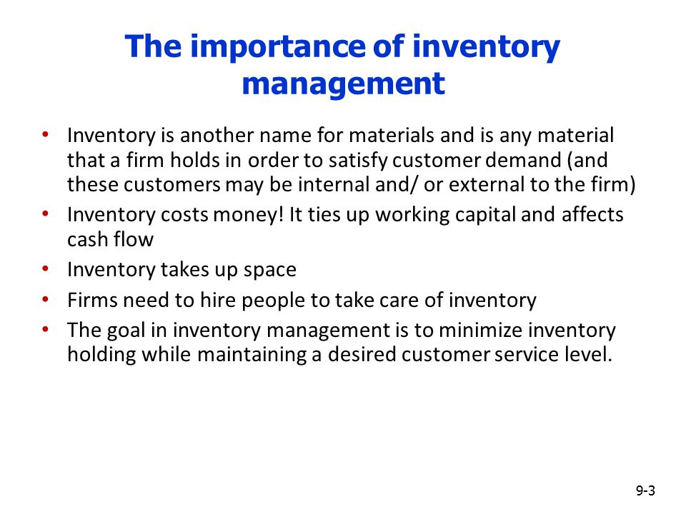 the importance of inventory control Is inventory management as important as inventory control as a business owner, you require an inventory management system that insures the next order you place is the right quantity both for your customers and for your business.