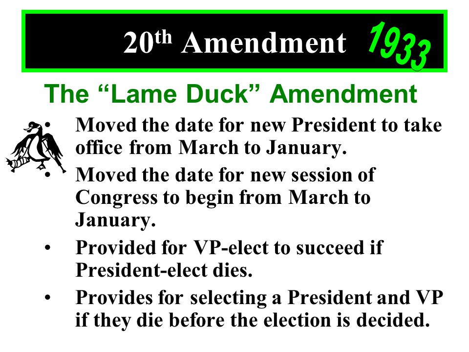 Th Amendment The Lame Duck Amendment