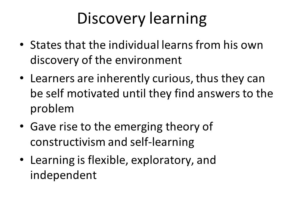 application of discovery learning method of Instruction was primarily lecture-based but included four discovery learning activities results indicate that students had greater achievement on content learned through discovery methods than lecture-based instruction findings regarding students' attitudes toward discovery-based instruction suggest that students enjoyed.