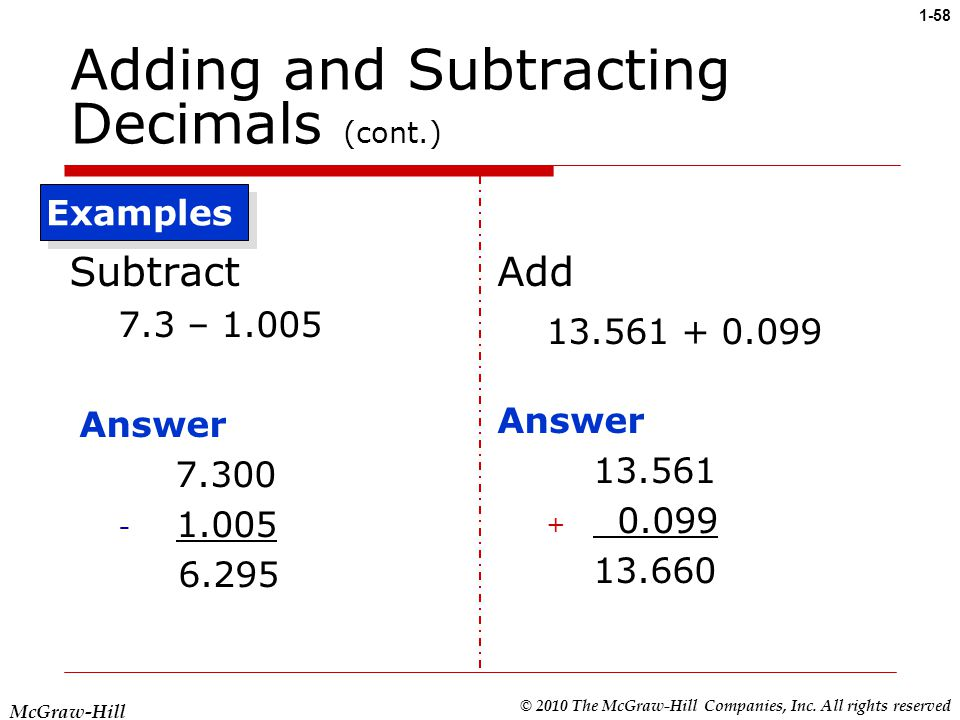 how to add subtract decimals