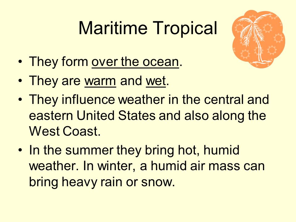 Maritime Tropical They form over the ocean. They are warm and wet.