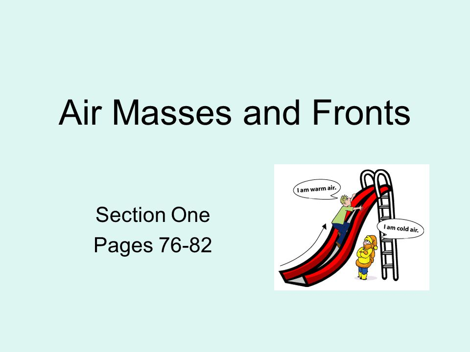 Air Masses and Fronts Section One Pages 76-82