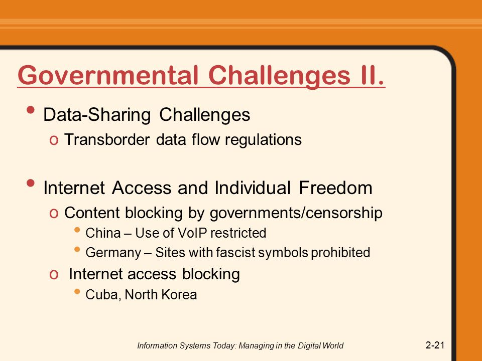 Governmental Challenges II.