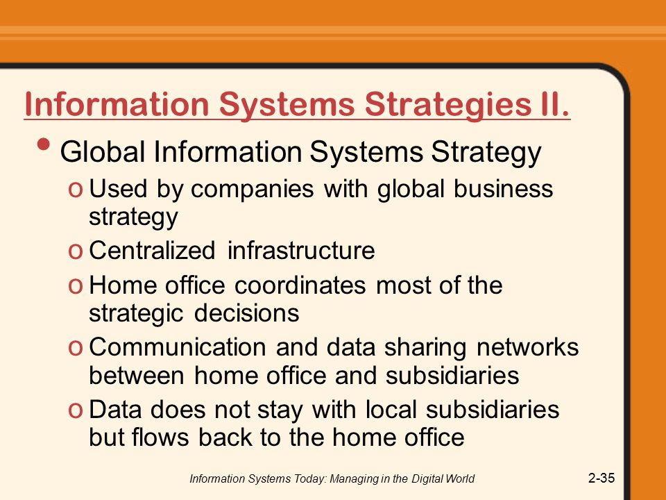 Information Systems Strategies II.