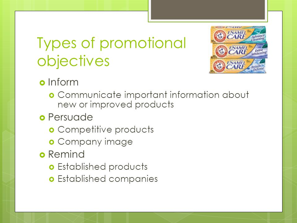 Types of promotional objectives