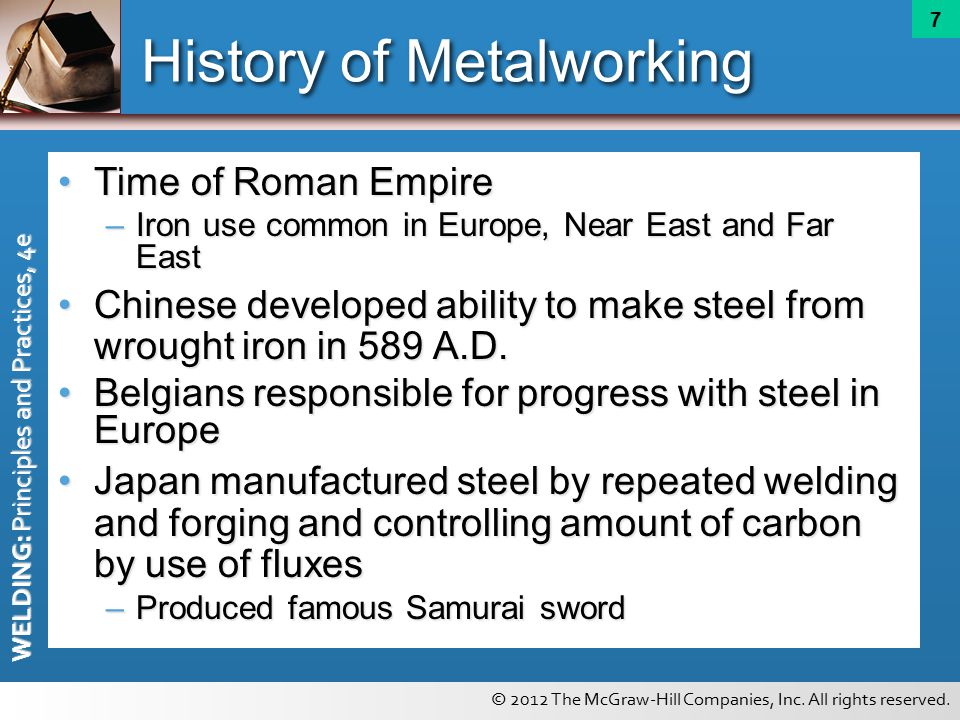 history of metalworking Iron in africa: revising the history paris at egaro, west of termit, material has been dated earlier than 2500 bc, which makes african metalworking contemporary with that of the middle east the roots of metallurgy in africa go very deep.