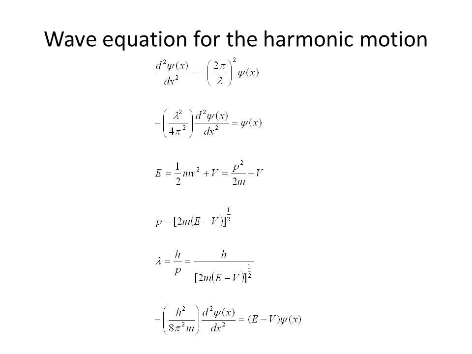 Wave equation for the harmonic motion