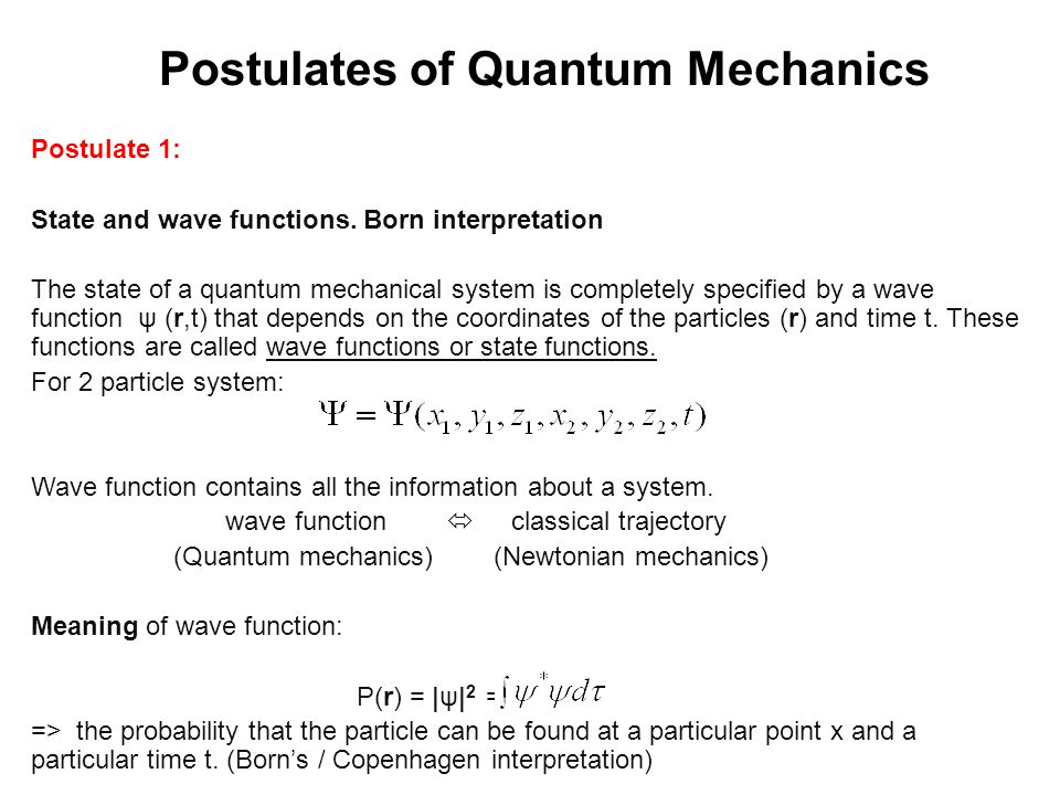 Postulates of Quantum Mechanics