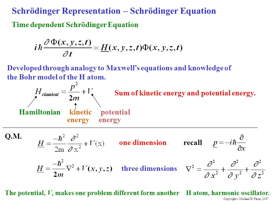 Schrödinger Representation – Schrödinger Equation