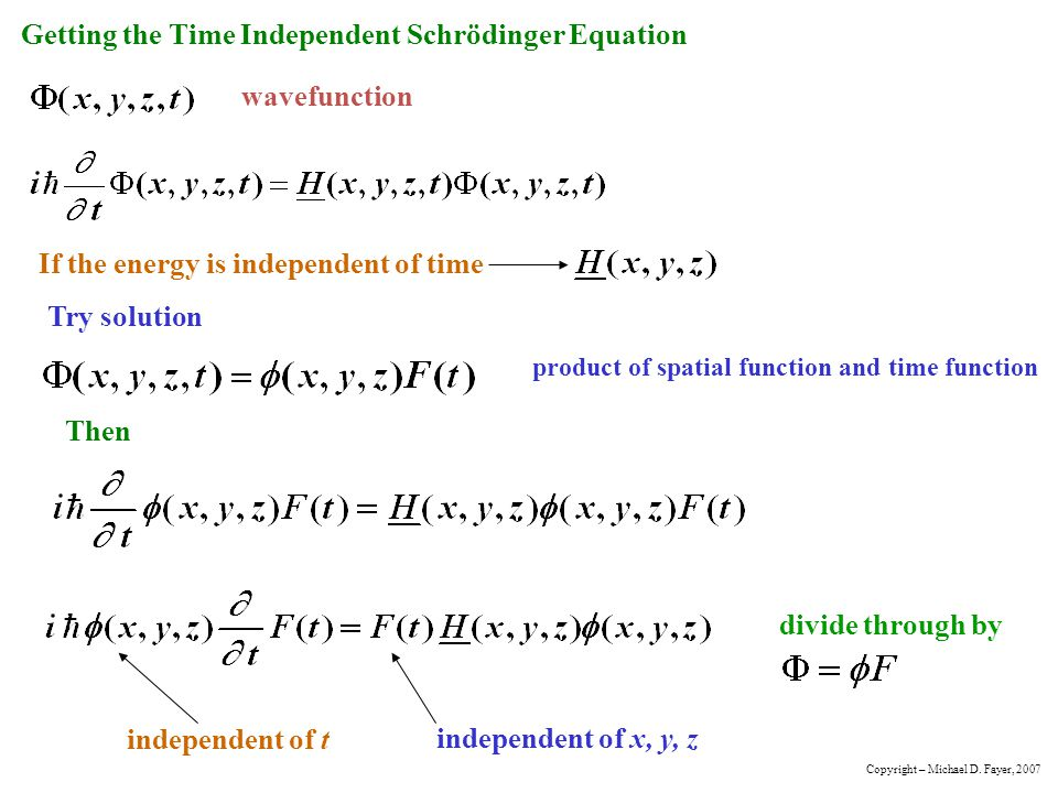 Getting the Time Independent Schrödinger Equation