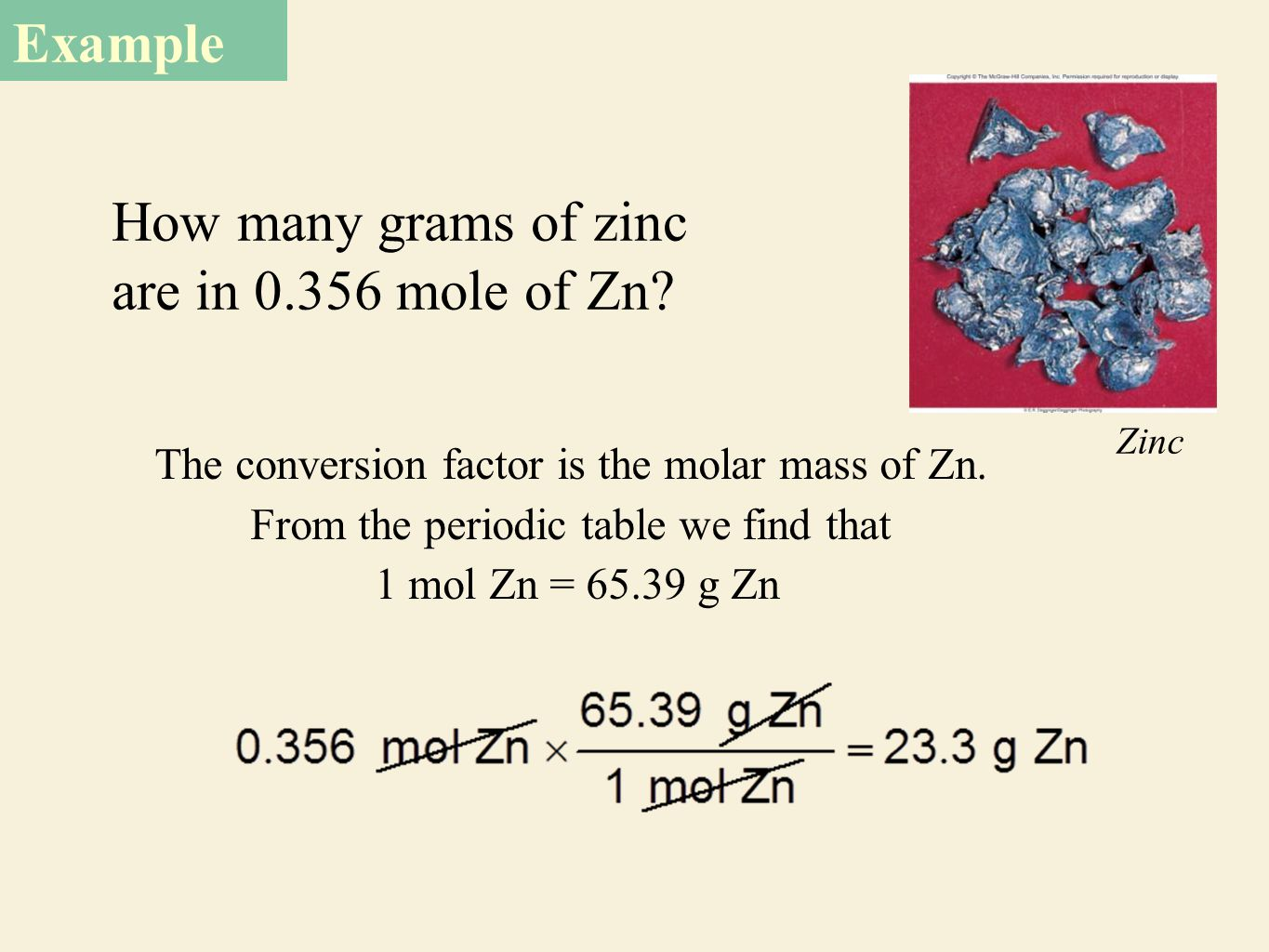 Mass relationships in chemical reactions ppt download how many grams of zinc are in 0356 mole of zn gamestrikefo Image collections