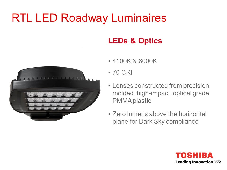 toshiba led lighting rtl roadway luminaires ppt video online download. Black Bedroom Furniture Sets. Home Design Ideas