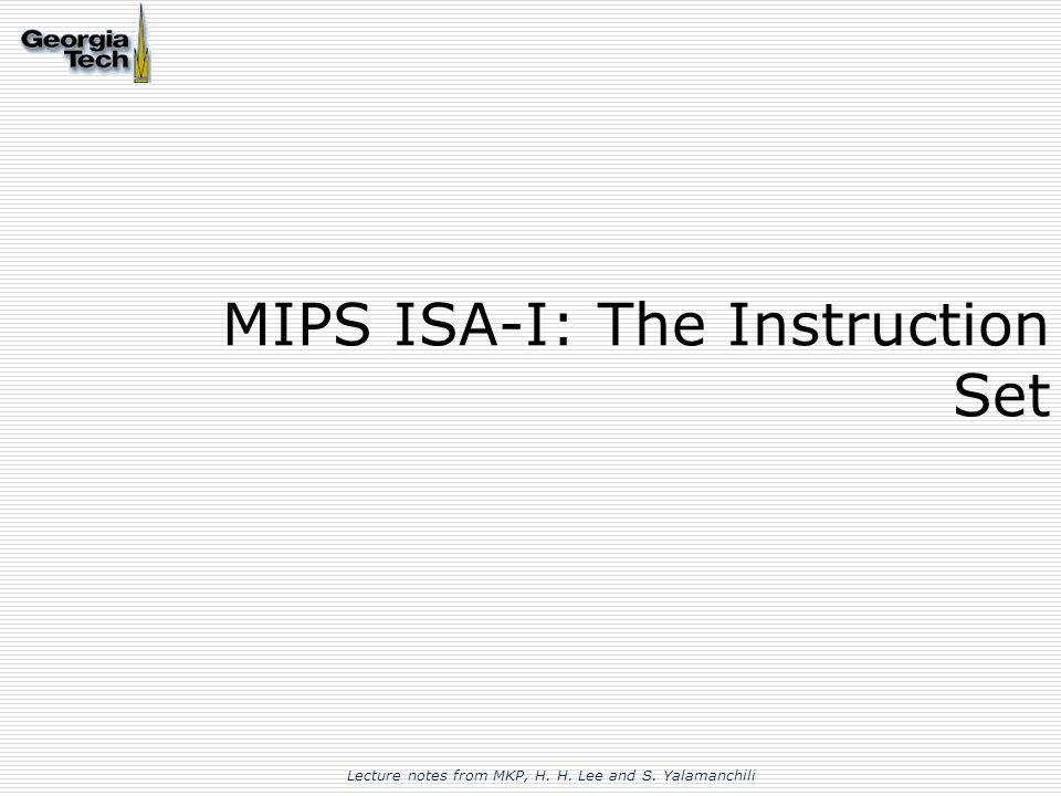 Mips Isa I The Instruction Set Ppt Video Online Download