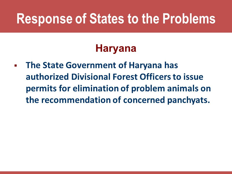 Response of States to the Problems
