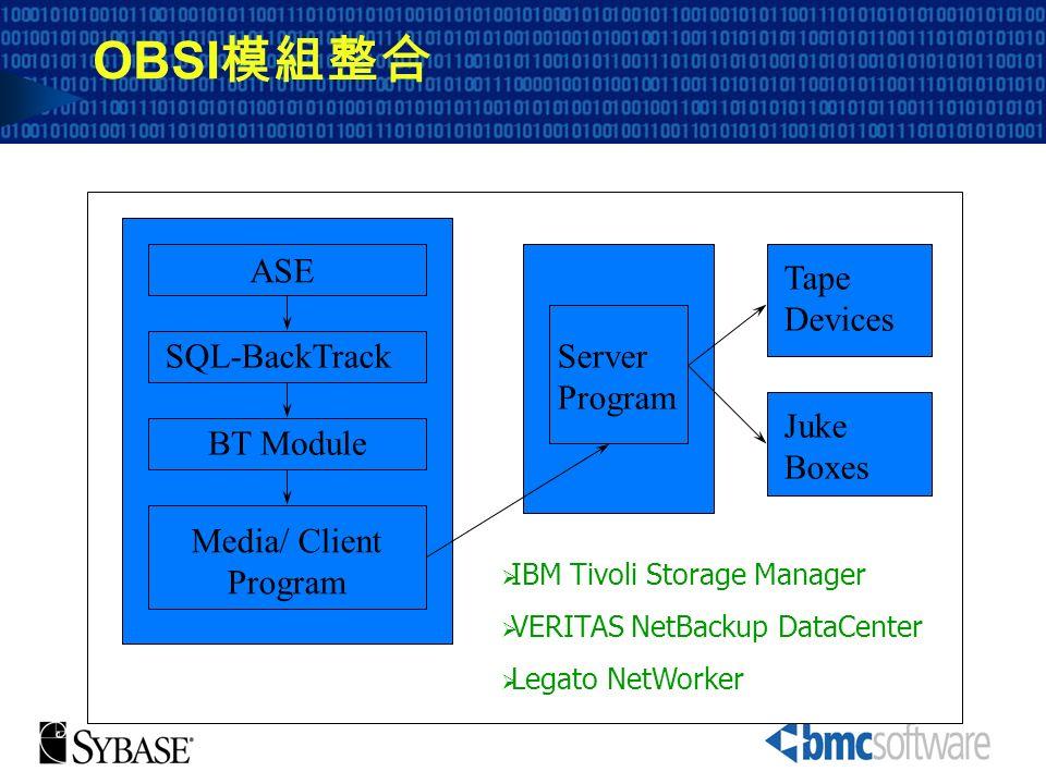 OBSI模組整合 ASE Tape Devices SQL-BackTrack Server Program Juke Boxes