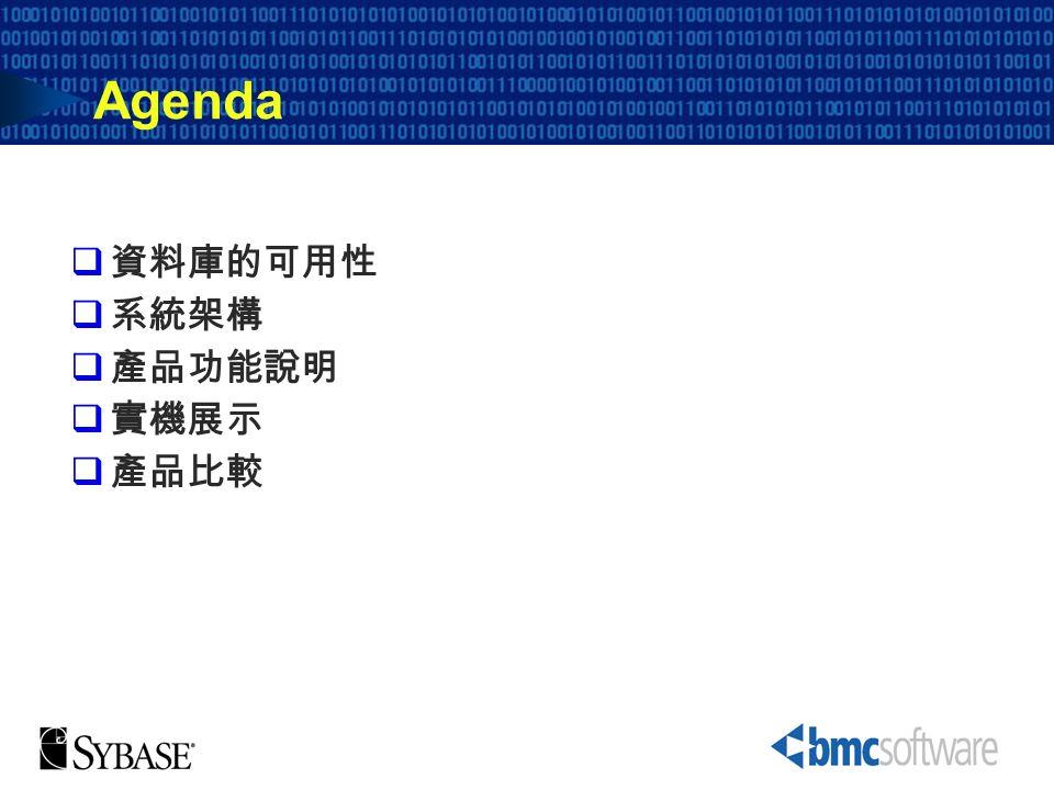 Agenda 資料庫的可用性 系統架構 產品功能說明 實機展示 產品比較