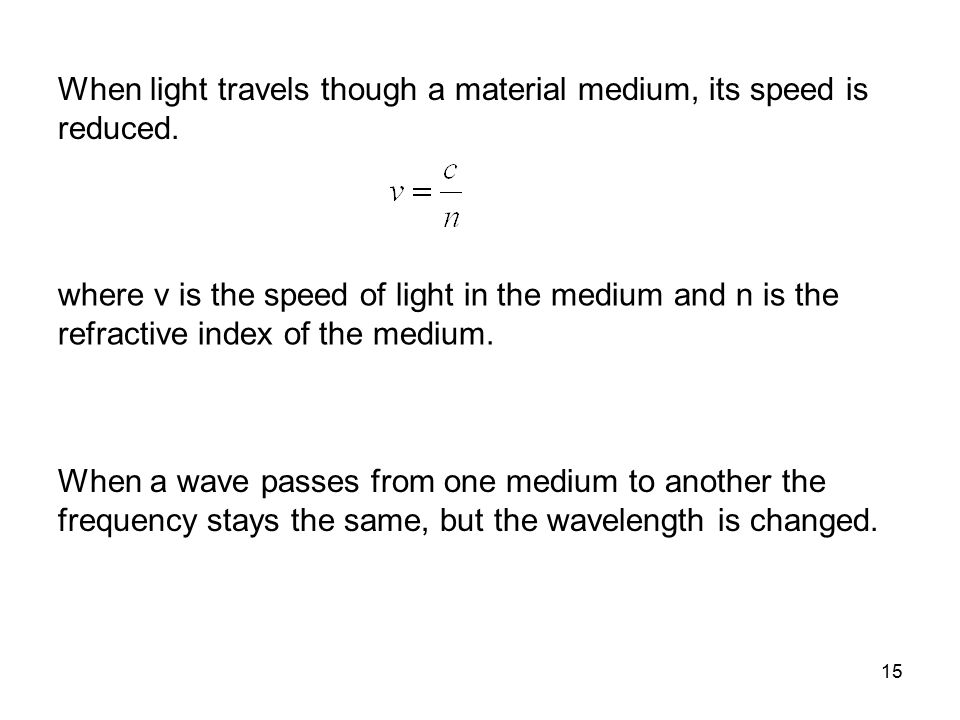 When light travels though a material medium, its speed is reduced.