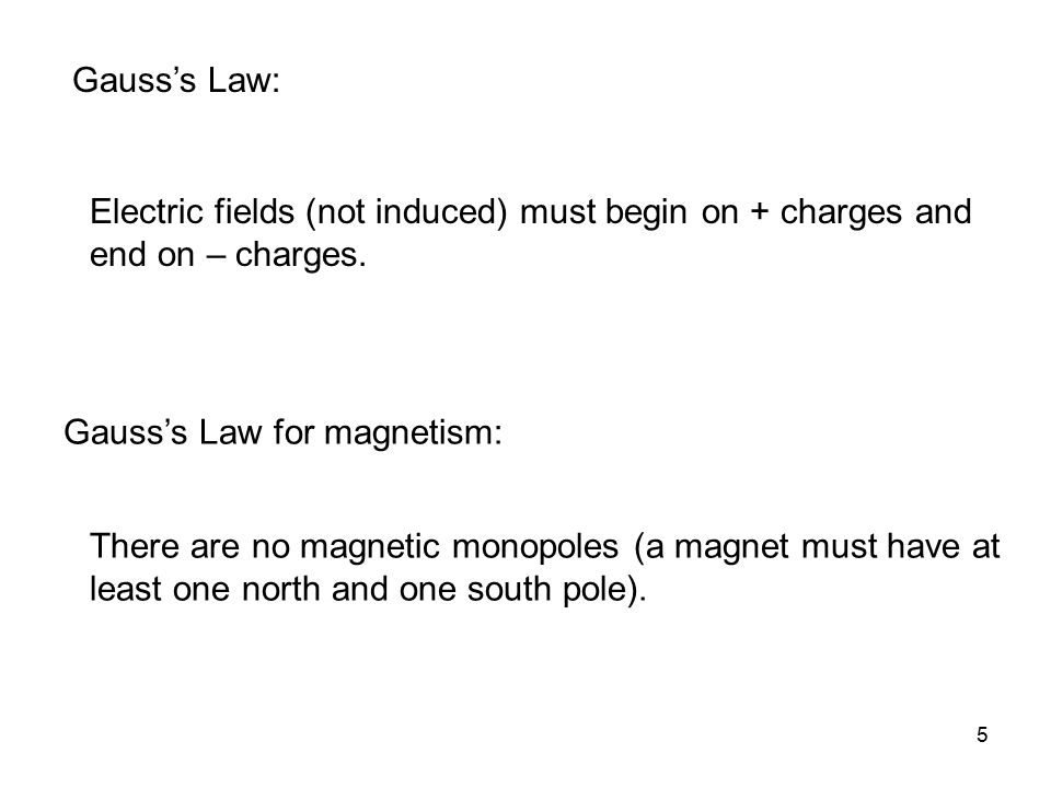 Gauss's Law: Electric fields (not induced) must begin on + charges and end on – charges. Gauss's Law for magnetism: