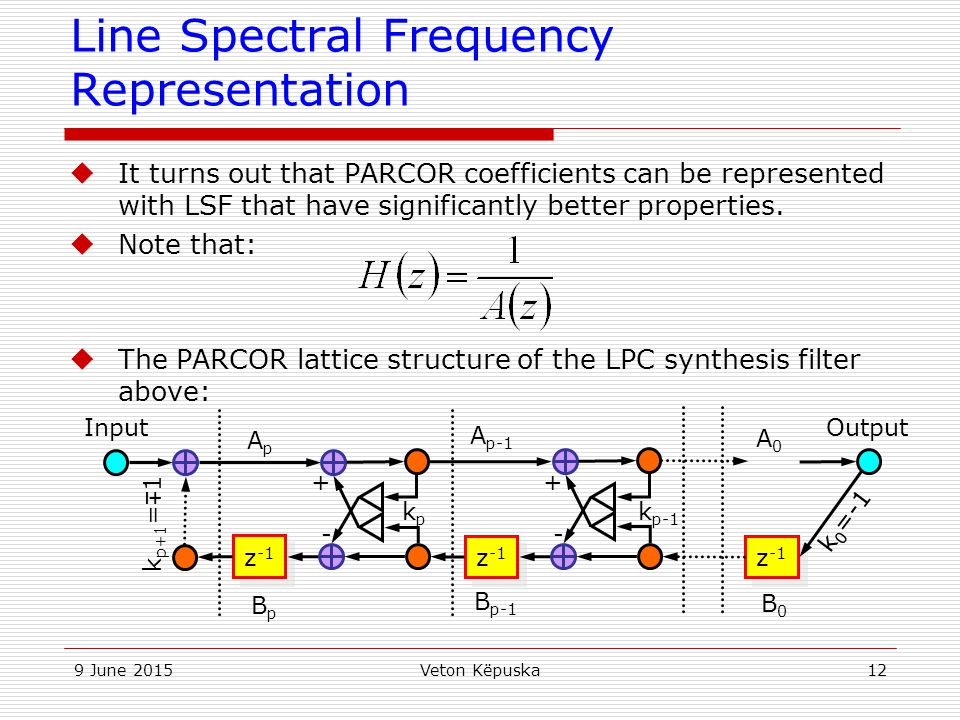 Line Spectral Frequency Representation