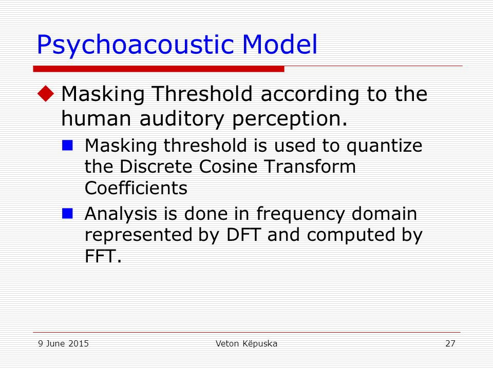 Psychoacoustic Model Masking Threshold according to the human auditory perception.