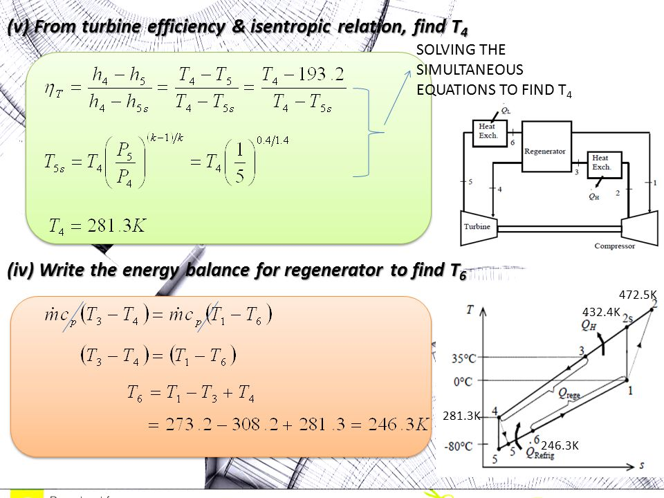 (v) From turbine efficiency & isentropic relation, find T4 (iv) Write the energy balance for regenerator to find T6