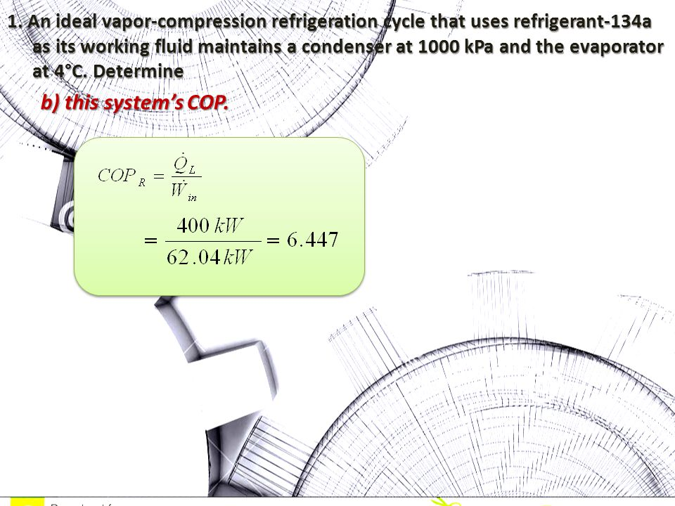 1. An ideal vapor-compression refrigeration cycle that uses refrigerant-134a as its working fluid maintains a condenser at 1000 kPa and the evaporator at 4°C. Determine