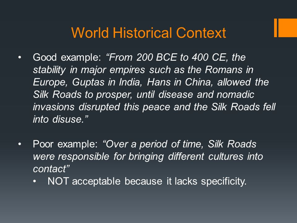 ccot essay silk roads Ccot during 200 bce to 1450 bce the interaction along the silk roads continued in the amount of people that were trading along it and how the silk road.