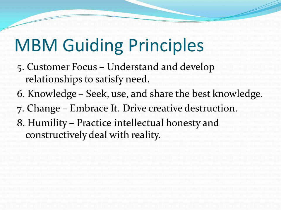 mbm driving principles