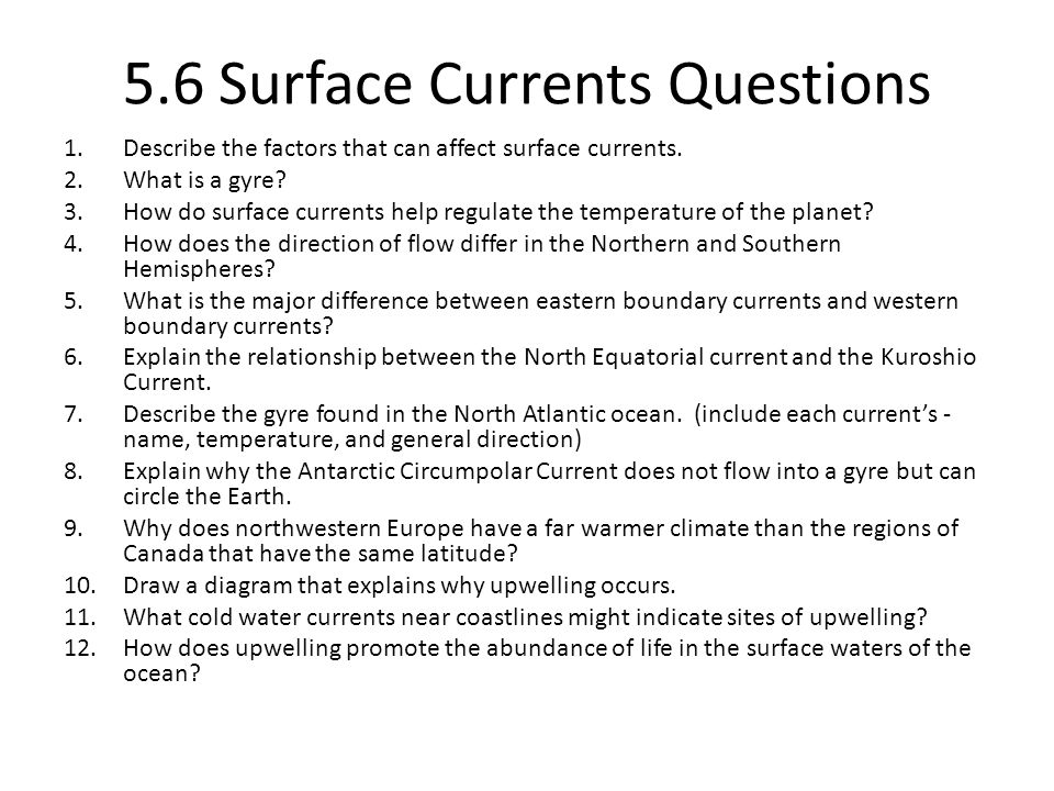 5.6 Surface Currents Questions