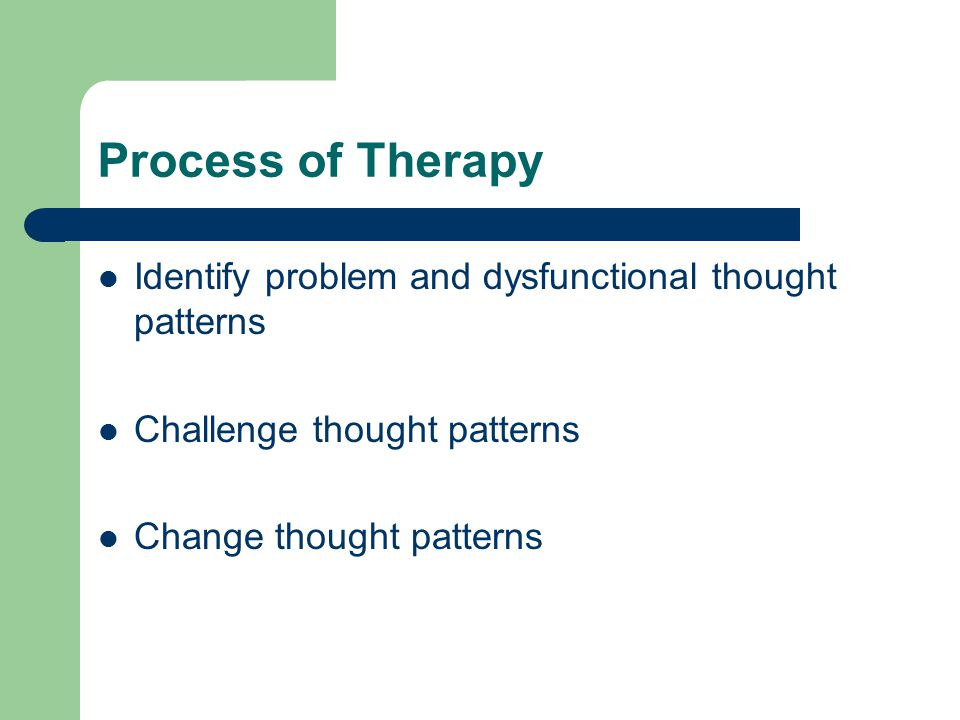 Process of Therapy Identify problem and dysfunctional thought patterns