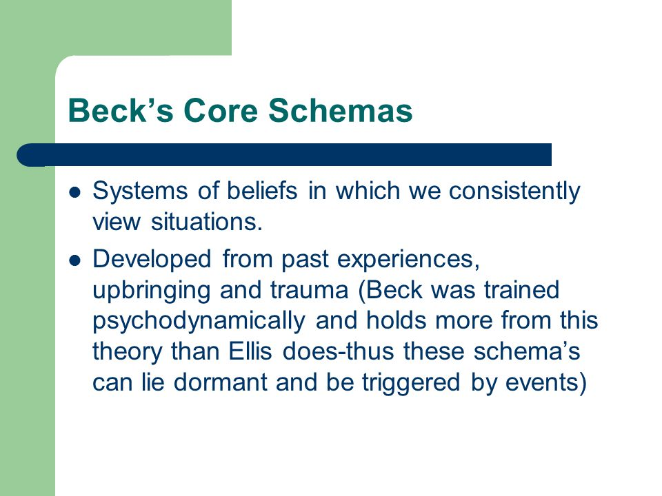 Beck's Core Schemas Systems of beliefs in which we consistently view situations.