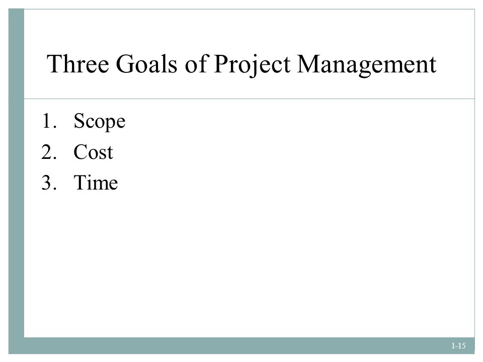 Three Goals of Project Management