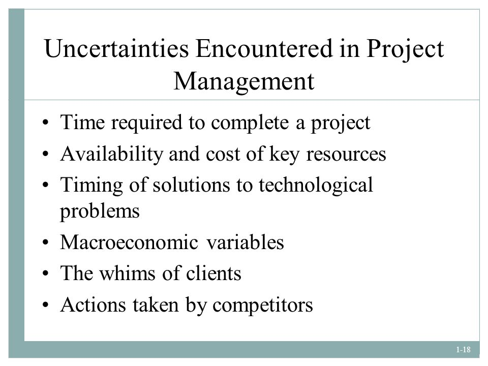 Uncertainties Encountered in Project Management