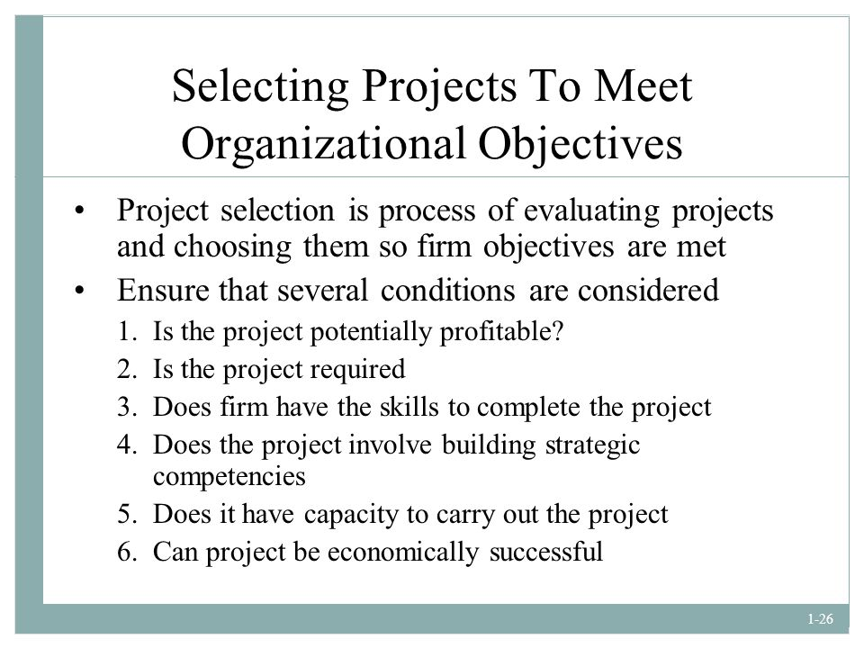 Selecting Projects To Meet Organizational Objectives