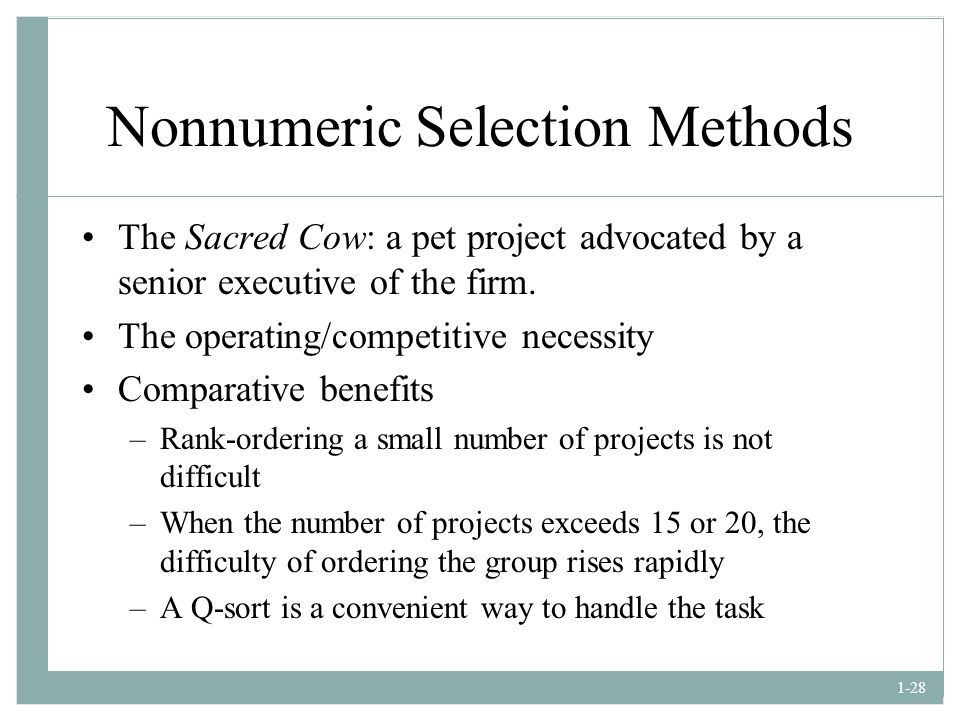 Nonnumeric Selection Methods