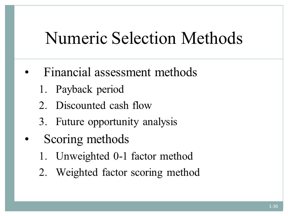 Numeric Selection Methods