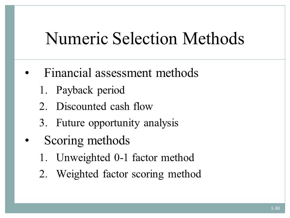 Numeric Selection Methods