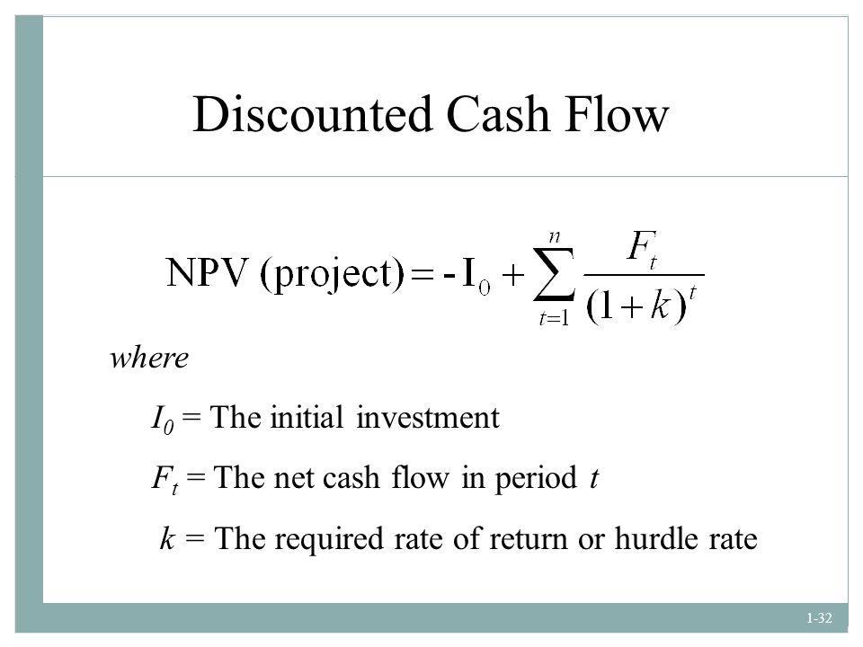 Discounted Cash Flow where I0 = The initial investment