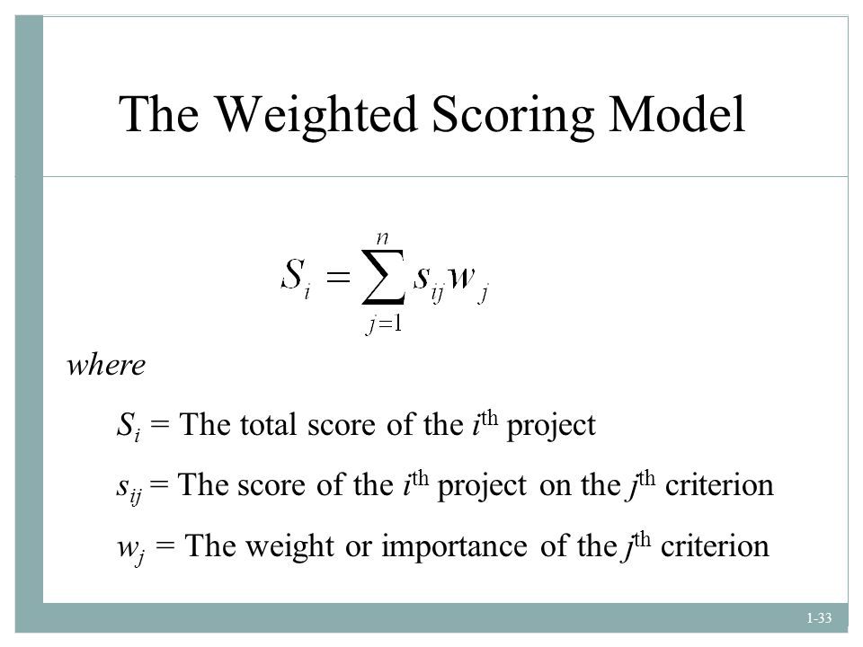 The Weighted Scoring Model