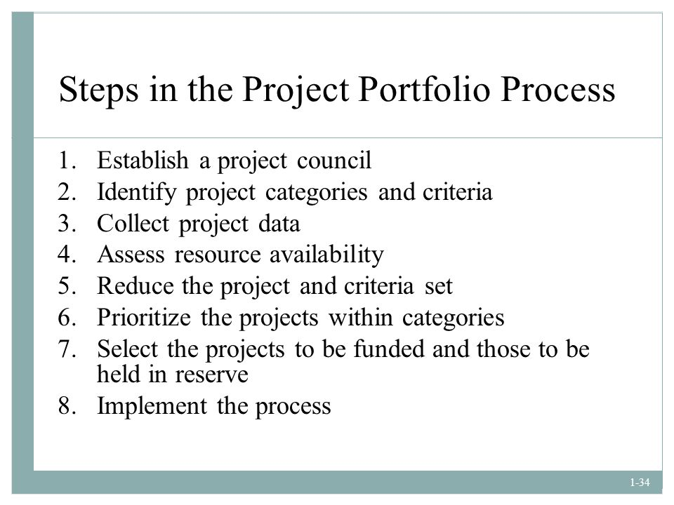 Steps in the Project Portfolio Process