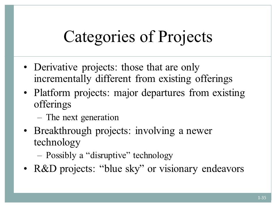 Categories of Projects