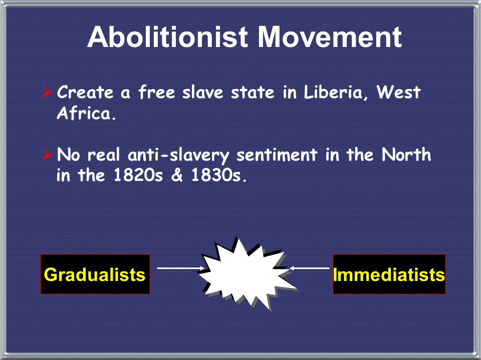 slavery and the abolitionist movement in the united states The united states was antislavery movement slowly began to diminish and a new drastic form of opposition to slavery developed the abolitionist movement had a.