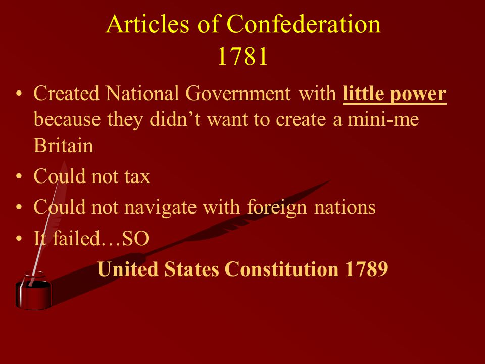 the failure of the articles of confederation to unite the american nation Distribute an article that details the first constitutional agreement made between the original united asian american and pacific articles of confederation.